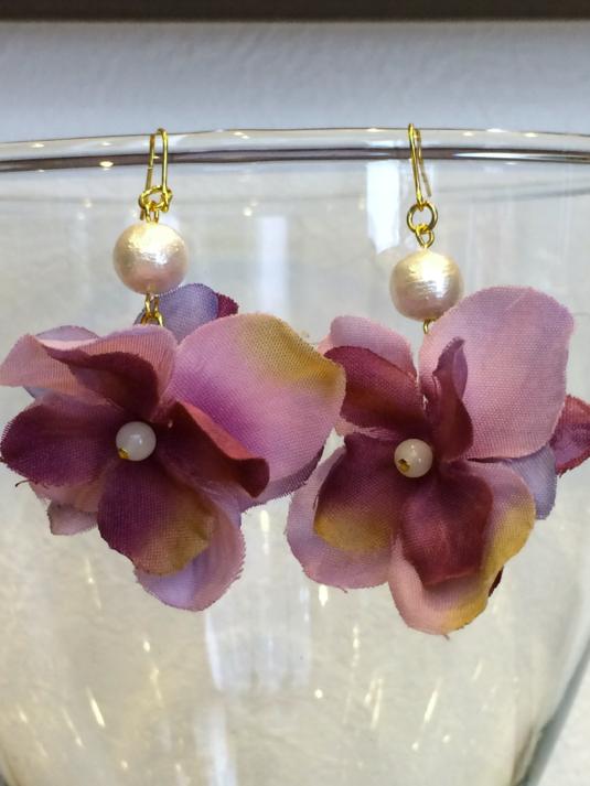 紫陽花ピアス パープル