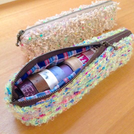 手織りのマステポーチ ネオンカラー