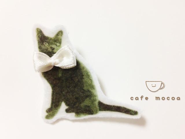 黒猫のおめかしブローチ