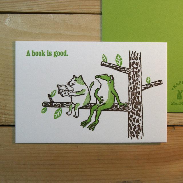 グリーティングカード 木の上で読書(グリーン)