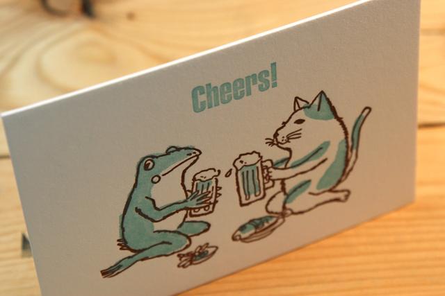 グリーティングカード 猫とカエルが乾杯(グリーン)