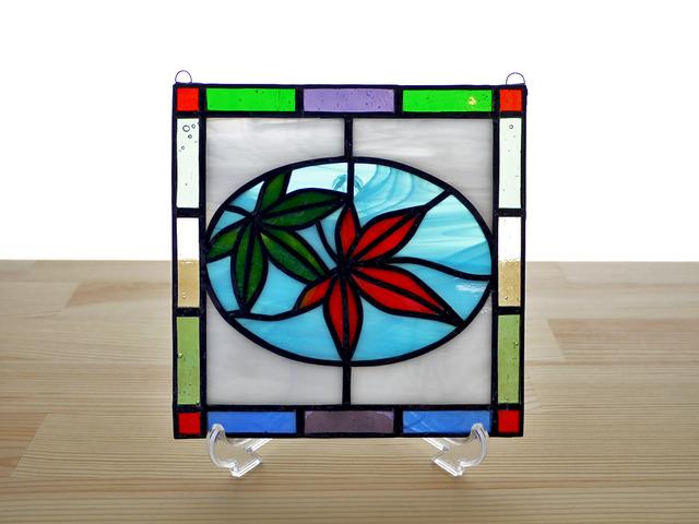 ステンドグラス ミニパネル カエデ 15cm