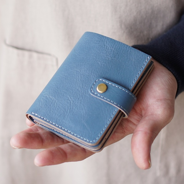 99b206ba32bd 小さいお財布「Small Wallet」スカイブルー 名入れ/ギフトラッピング可【ご注文順に製作致します】