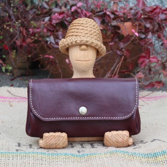 3a99c601542e ジャバラの長財布/ワイン色のレザー財布/大きな財布/ハンドメイド財布/かわいい長財布/jaba-wine