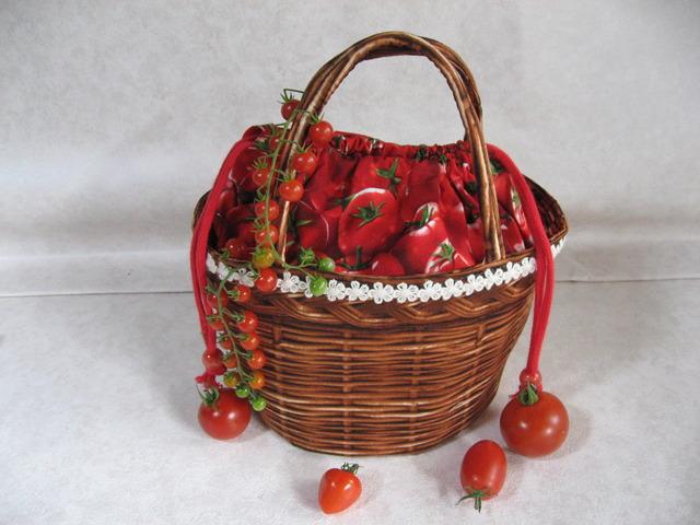 丸底のなんちゃってかごバッグ真っ赤なトマト