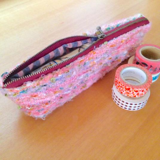 手織りのマステポーチ フラミンゴ色