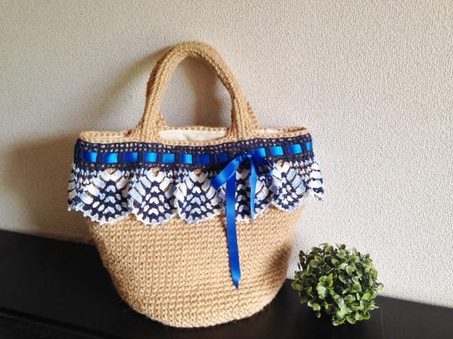 送料無料 ♪麻ひもで編んだかごバッグ レース編みとサテンのリボンで♪