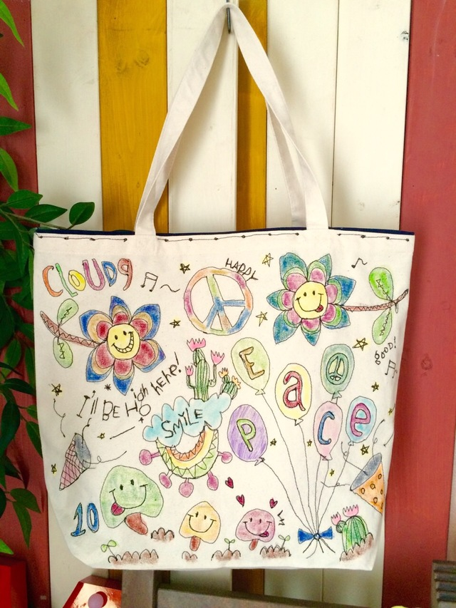 総刺繍(PEACE風船)トートバッグ