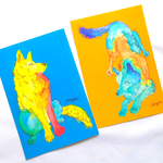 Colorful Wolf card
