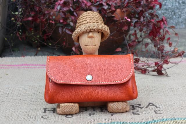 f385f3cd8d5d ジャバラの長財布/オレンジ色の本革レザー財布/大きな財布/ハンドメイド財布/かわいい長財布/jaba-orange