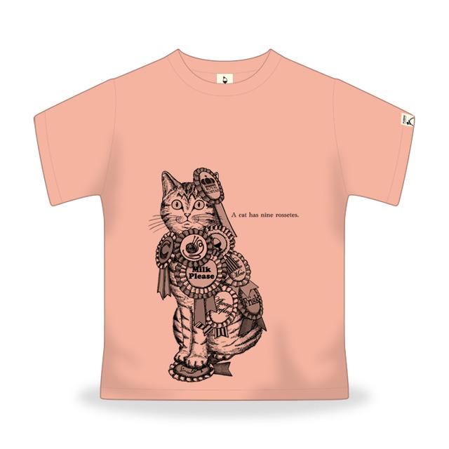 ねこにロゼット-杏色 Mサイズ(男女兼用)