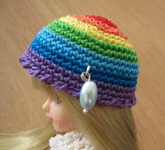 【帽コレ2015summer】レインボーカラー・ドール用の夏帽子【雨のしずく】