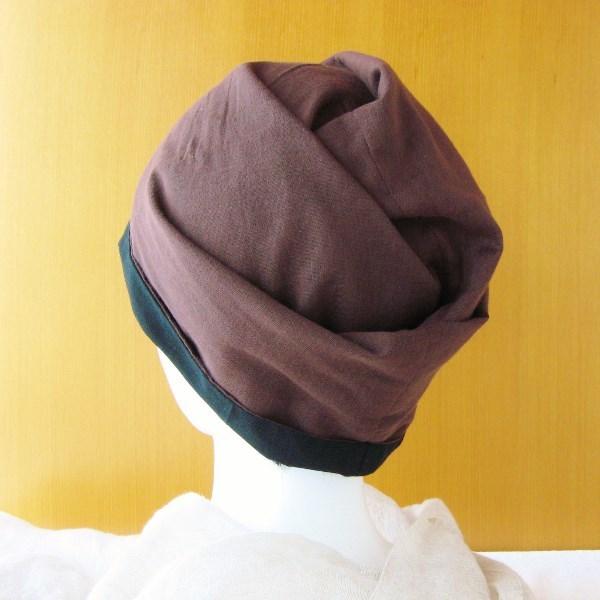 ガーゼ帽子 たぽっとターバン風 黒/茶...