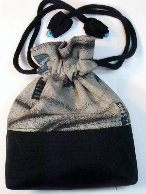 着物リメイク 長襦袢と黒の羽織で作った巾着袋 253