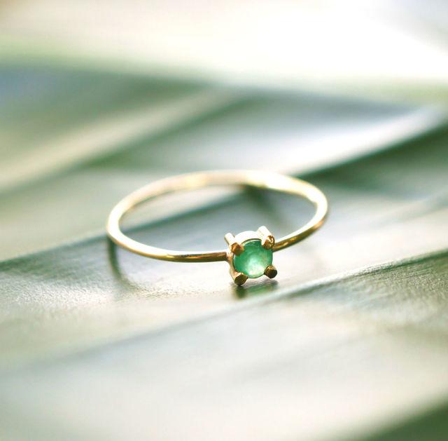 再販】K18エメラルドのリング 〜Rita