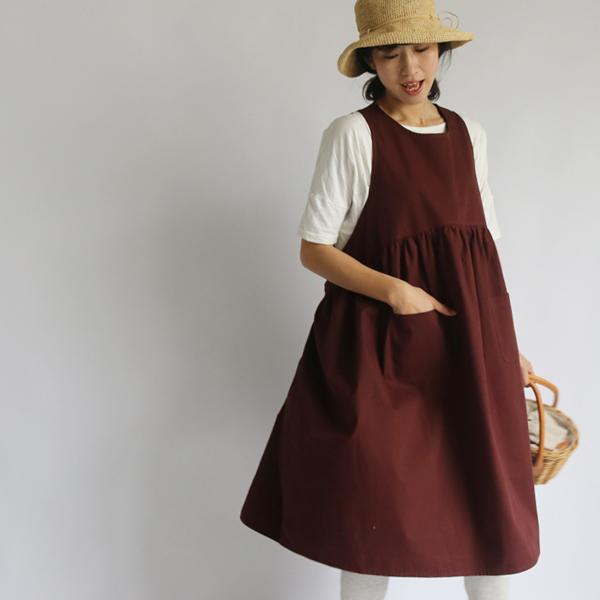 8c7359ccc3719  夏支度セール 107cm丈 コットン100% 贅沢な布使い 後ろリボン ワンピース ゆったり あずき R87D