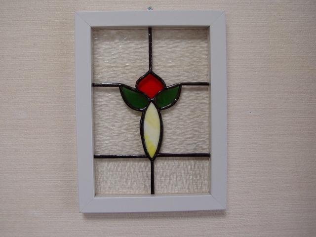 ステンドグラスの壁掛け・hana-w3