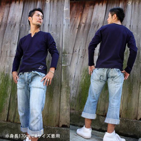 【JIKUU】カットオフロンT/ネイビー