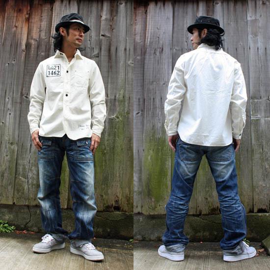 <20%OFFセール!>【JIKUU】ヴィンテージワークシャツ『ローマ』