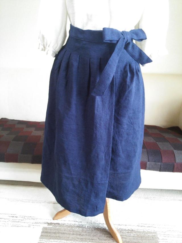 ウエストリボンのリネンスカート (巻きスカート風)   サマコレ