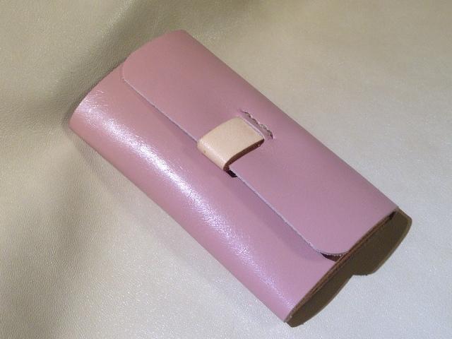 グレーイッシユピンク 手縫いキーケース