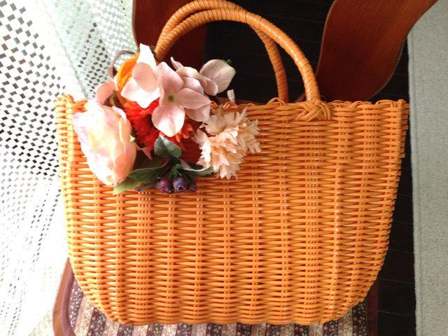 お花のカゴバッグ  オレンジ/シャーベットオレンジ