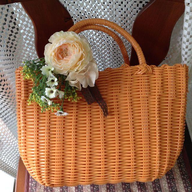 お花のカゴバッグ  オレンジ/クリームオレンジ