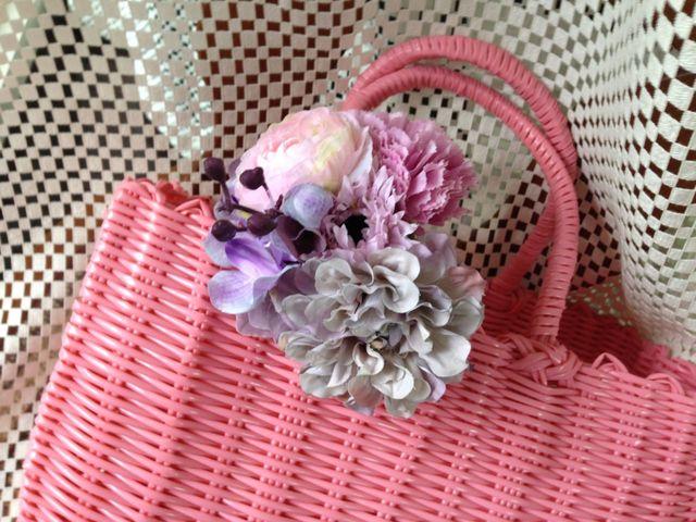 お花のカゴバッグ  ピンク/ピンクパープル