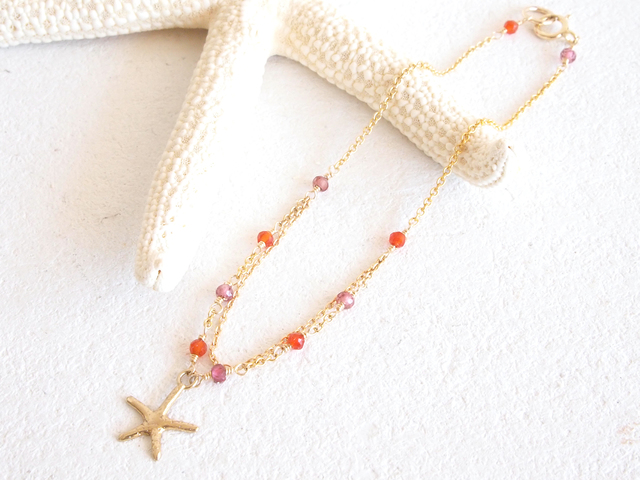 14KGF Starfish Bracelet OR