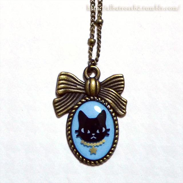 【ballet cat】ネックレス★黒猫blue