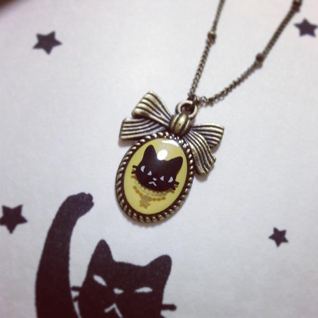 【ballet cat】ネックレス★黒猫yellow