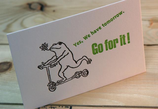 グリーティングカード カエルコースターGo!