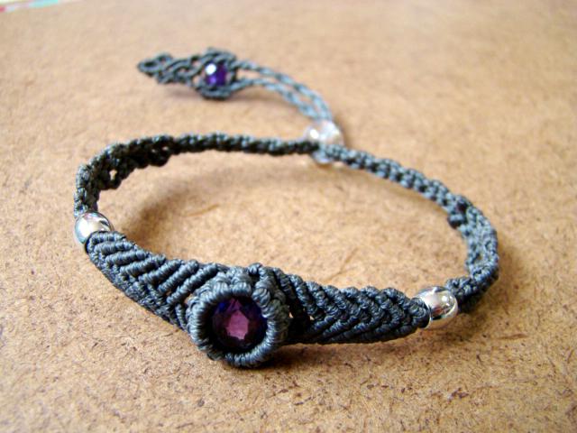 【Mさまオーダー品】アメシストのマクラメ編み 天然石ブレスレット