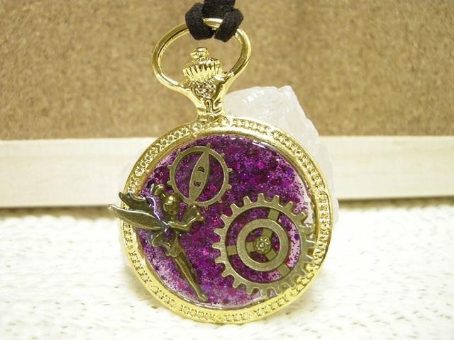 懐中時計in歯車とティンカーベルのペンダント