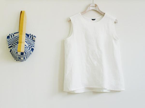 summer collection 2015   Ladys linen tank top ---white---