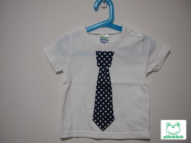 ネクタイTシャツ/90サイズ/白×ネイビー/水玉