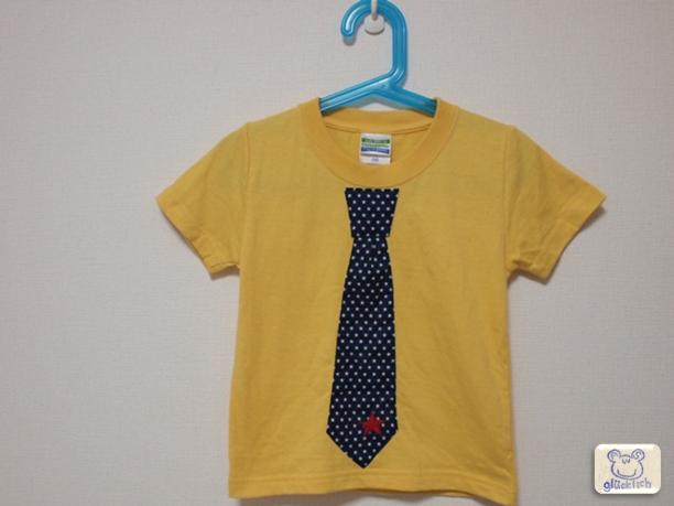 ネクタイTシャツ/100サイズ/紺×イエロー