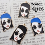 【knz307chmm】【2color 4pcs】Beret Girl Charm