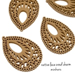 mocha★4pcs)native lace wood charm