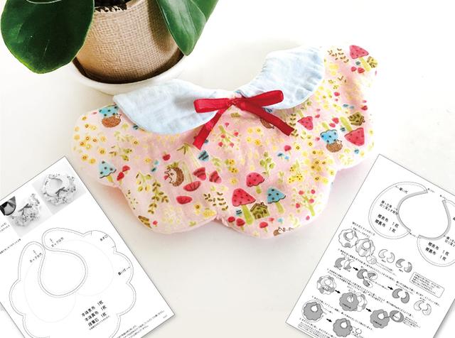 襟付き花スタイの原寸大型紙とイラストレシピ