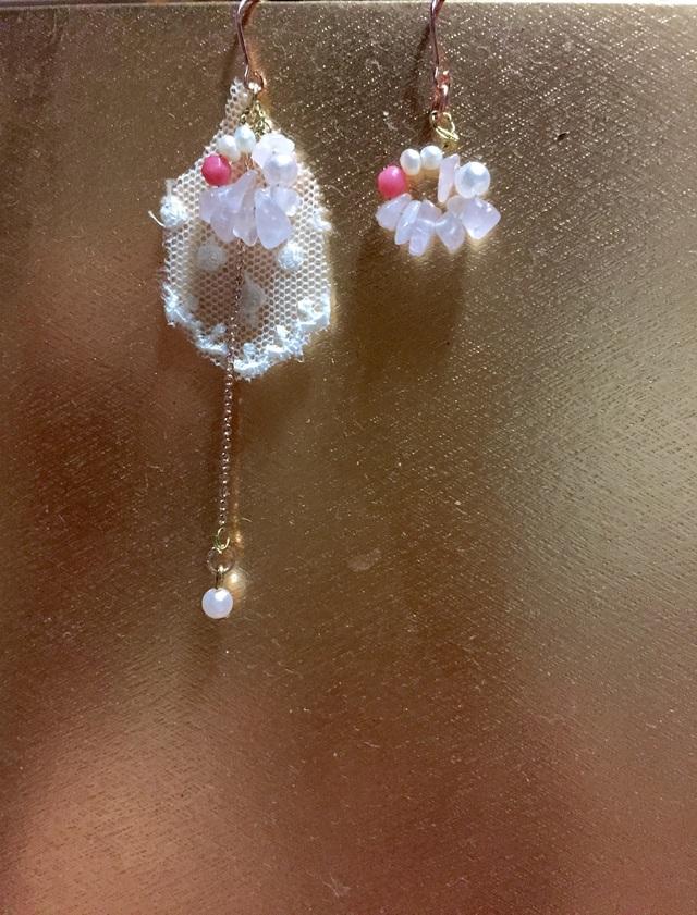 人魚姫の珊瑚と天然石ピアス  (ピンクゴールド)