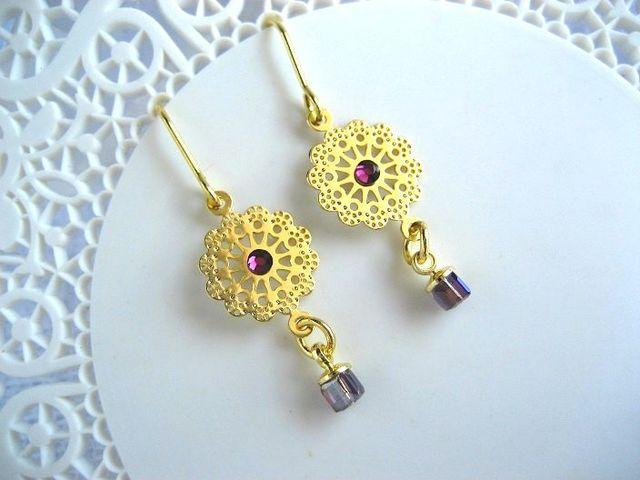 紫キューブとゴージャスレースのピアス_336