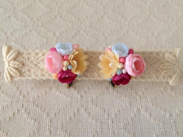 小花のくっつきイヤリング(ピンク&オレンジ&水色&赤桃)