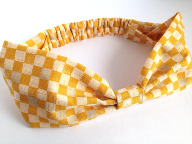 市松模様のリボンヘアバンド(黄)