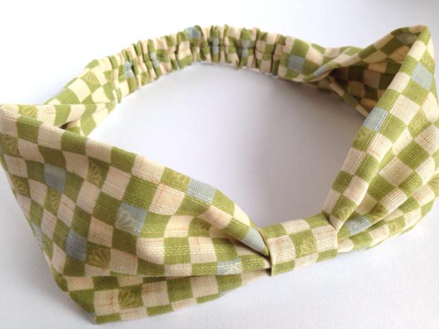 市松模様のリボンヘアバンド(黄緑)