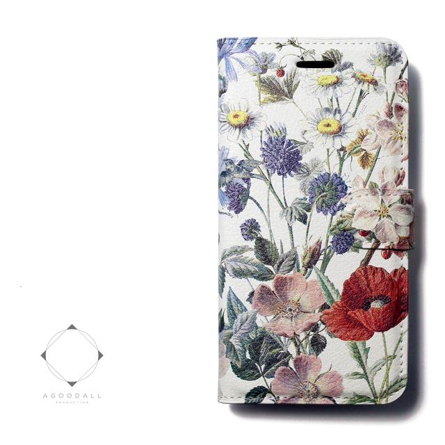 9699123357 【両面デザイン】 iphoneケース 手帳型 レザーケース カバー(花柄×ブラック)ワイルドフラワー ボタニカル