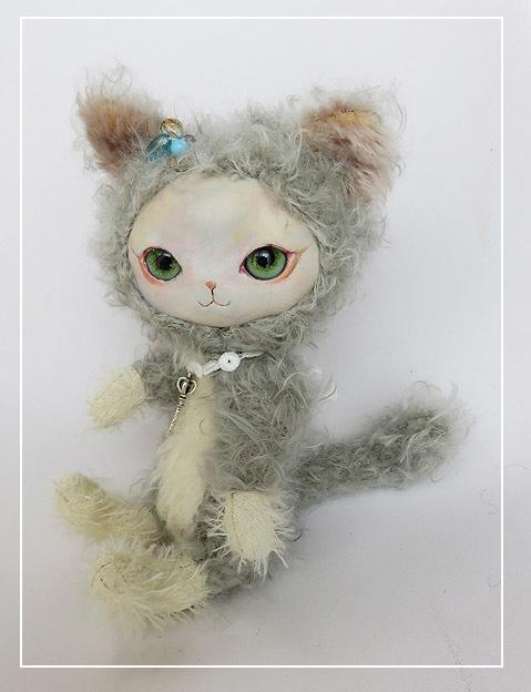 フェイスタイプドール*猫(シルバーグレー×オフホワイト)