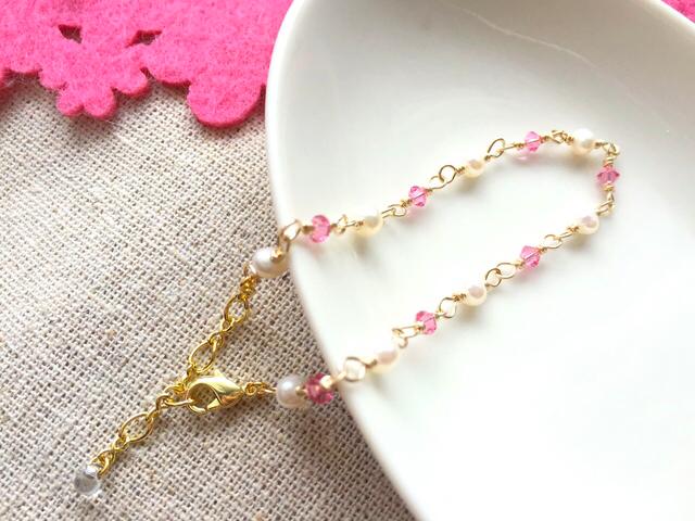 スワロと淡水パールのブレスレット<ピンク>