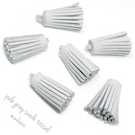 6pcs)pale gray suede tassel