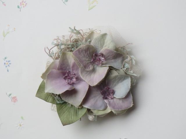紫陽花のコサージュ(2way)